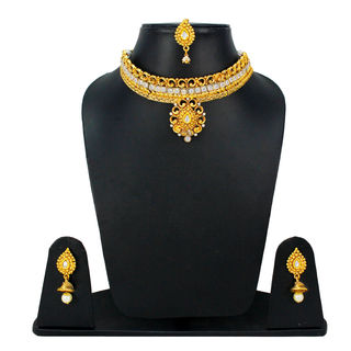 White Stones On Gold Tone Traditional Necklace Set With Dangling Pearl