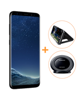 SAMSUNG S8 PLUS SUPER BUNDLE - GET CLEAR VIEW STANDING COVER+ FAST CHARGER DOCK,  black