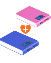 IPOWER POWERBANK 10000MAH WITH SCREEN BLUE & PINK COMBO DEALS