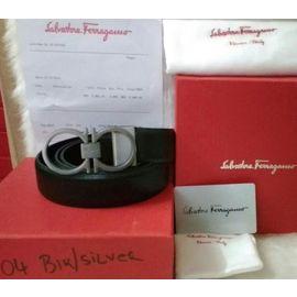 New Stylish Salvatore Ferragamo Silver Buckle Black Leather Belt for Men