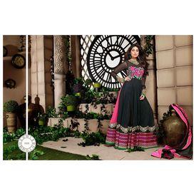 Designer beauty black and pink anarkali dress material