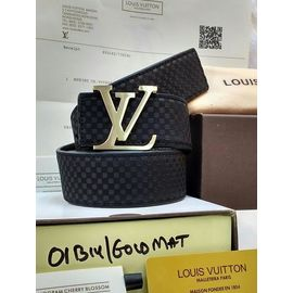 Stylish Louis Vuittion Leather Black Casual Belt For Men