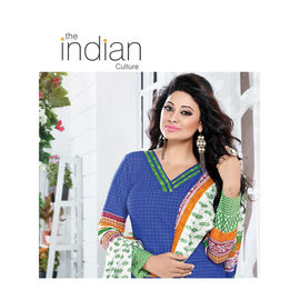 Cotton Suits - Designer Casual Wear Blue & Green Mix Color Churidar Salwar Kameez