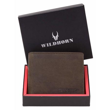 WILDHORN New HIGH Quality RFID Protected Men' S Genuine Leather Wallet/RFID Blocking Wallet for Men (Dark Brown Hunter)