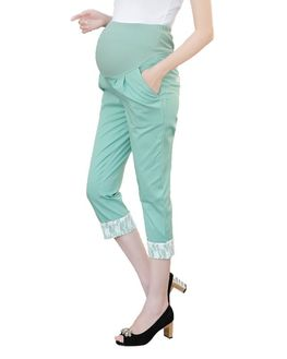 Pastel Green Maternity Capri, large