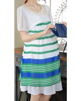 Green and White Striped Maternity Dress, large