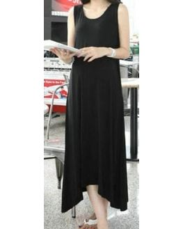 Black Long Sleeveless Maternity Dress, xl