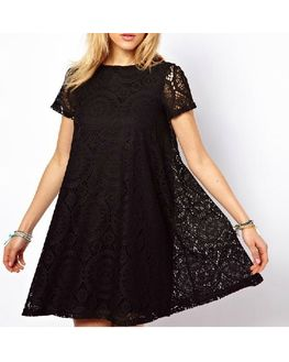 Soft Lace Black Tunic, xtra-large