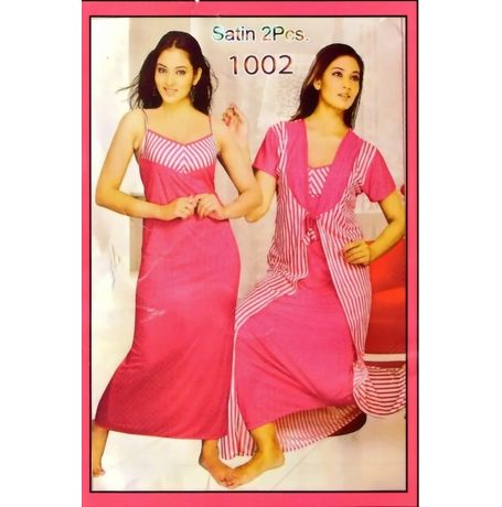 2 Piece Satin Nighty - Polka Dots High Fashion - JK2P-SATIN-POLKA-DOTS-1002, pink - polks dots on top and strips at bottom