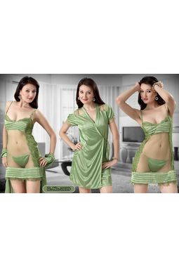 2 piece honeymoon transparent robe nighty - JKHNS-2P-ROBE- 2907 - 2039, catalog green