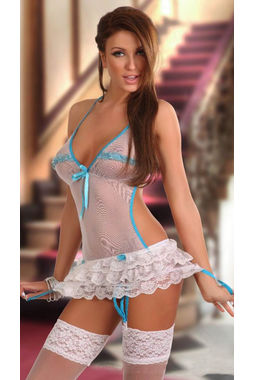 2 piece Transparent honeymoon dress - JKDLLC1054, white with blue, free  30-36 bust  30-34 waist  30-36 hips , 1 x thong  1 x bustier
