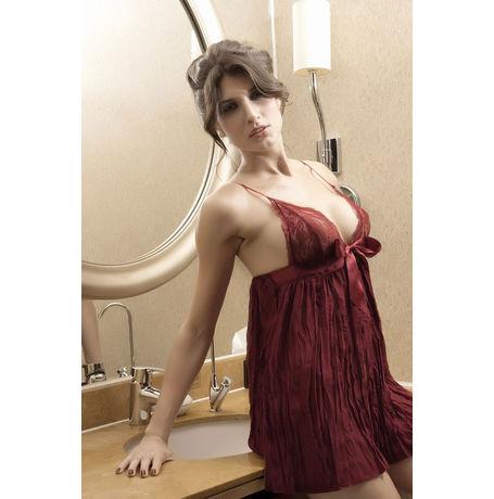 Pleated Baby Doll Dress JKLIFE- 4115, brown