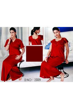 2 piece premium nighty frilled - JKSETH-2P-2009, winered, free size  32-36  inch, nighty with overcoat gown
