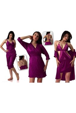 4 piece Bridal Nighty - High oomph - JKHNS - 4P - 2911, purple, free  30-36 bust  30-34 waist  30-36 hips