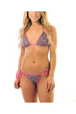 Metallic Shine String Bikini - Flexible Sexy - JKSHINEBIKINI, leopard print - magenta  size m