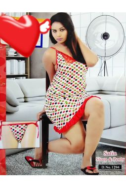 Sexy Satin Babydoll - JKDELJAICH-Baby, 1294-multicolorpolka-red, free  30-36 bust  30-34 waist  30-36 hips