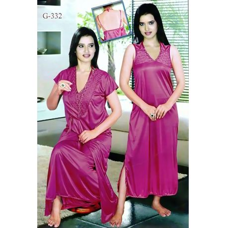 2 piece Nighty for enchanting Indian women - JK2P-G- 332, onion pink