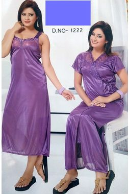 2 piece lace nighty with transparent front JKSETH-2P-FrontTransparent-1222, lavender, free size  32-36  inch, nighty with overcoat gown