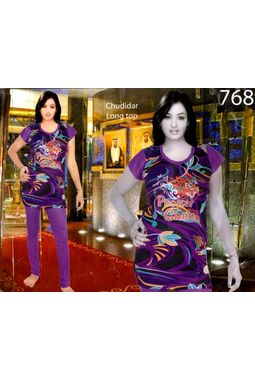 Designer Multicolor print churidar Long top night suit -JKNS- 768, red