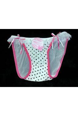 Premium Honeymoon panty - Front Hosiery Back Transparent panty - JKBLR-HoneyMoonPanty, white - pinklining, 28 - 34