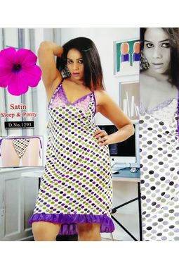 Sexy Satin Babydoll - JKDELJAICH-Baby, 1293-multicolorpolka-purple, free  30-36 bust  30-34 waist  30-36 hips