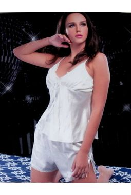 2 Piece satin honeymoon nikker top night wear JKVAL-NS- F 0270, moon white