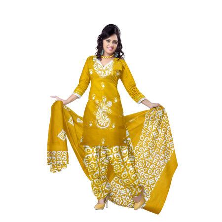 OSSWB9030: Batik design Mustard color ladies Dress material