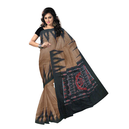 OSS231: Light Brown with Black Handloom cotton sari.