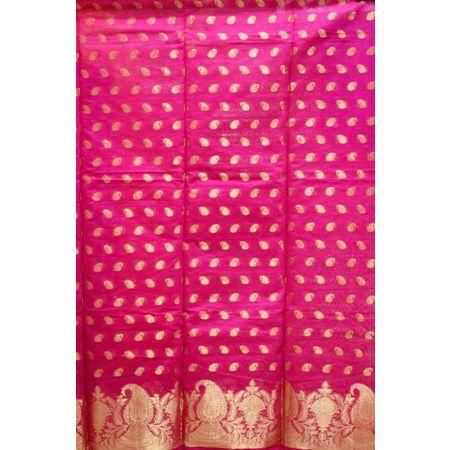 Pink With Gold Handloom Cotton silk Dress Material of Banaras AJ001792