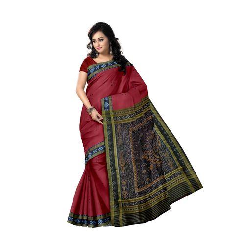 OSS297: Maroon color Pasapalli Hanloom Silk saree for Bridal wear