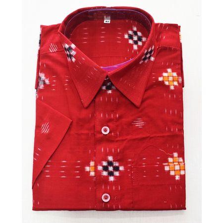 Red With Pasapalli Handloom Half Shirt for Men Made in Odisha Sambalpur AJ001773