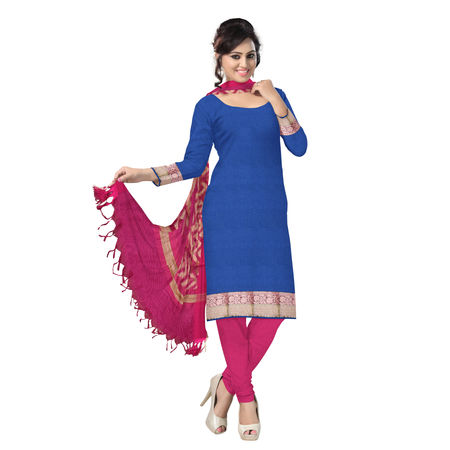 OSSUP106: Blue and Pink Banarasi Zari work Silk Salwar Suit Piece.