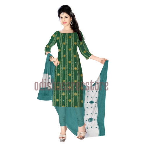 OSS111: Handloom Green color Ladies unstiched Dress material for office wear