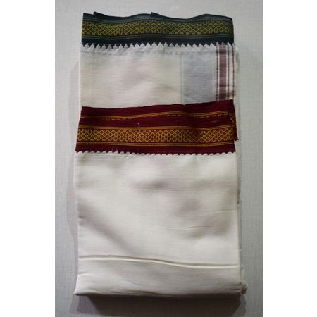 Handwoven White Color With Red & Green Border Plain Design Cotton Joda For Puja Wear, Made In South India AJ001245