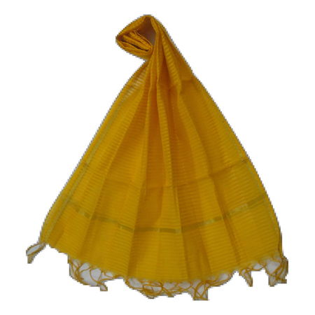 OSSUP162: Yellow Color Net Design Banarashee Silk Dupatta