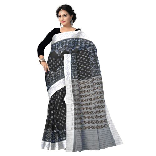 OSS003: Black with White Handloom Traditional Cotton Saree of odisha