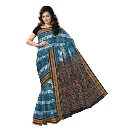 OSS7411: Hanwoven teal green Ikkat cotton saree of sambalpur with beautiful design.