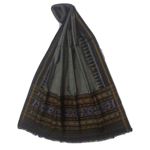 OSS148: Grey with Black color handloom cotton Dupatta Only