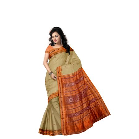 Buti Design Tusser Color with Orange Handloom Silk saree of Odisha Nuapatna AJ001298