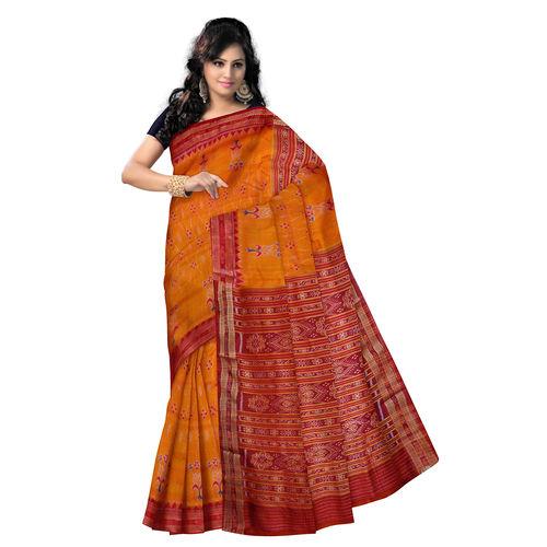 OSS5097: Orange color tarditional Silk Saree from sambalpur.