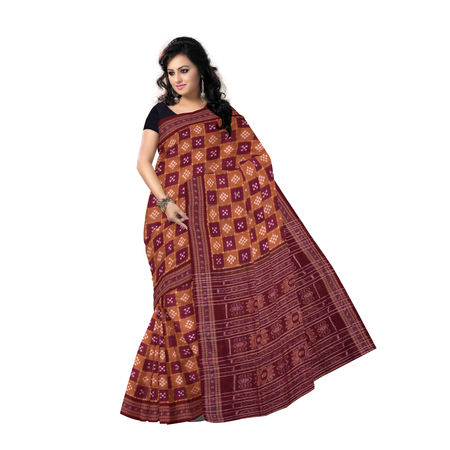 OSS474: Deep Brown hand woven Pasapalli design Cotton Saree of Sambalpur
