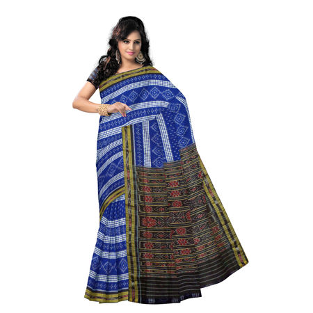 OSS9119: Ink Blue Alpana Design Cotton Saree for Ethnic Wear