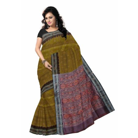 OSS169: Deep Olive color Indian Silk Saree Online Shopping.