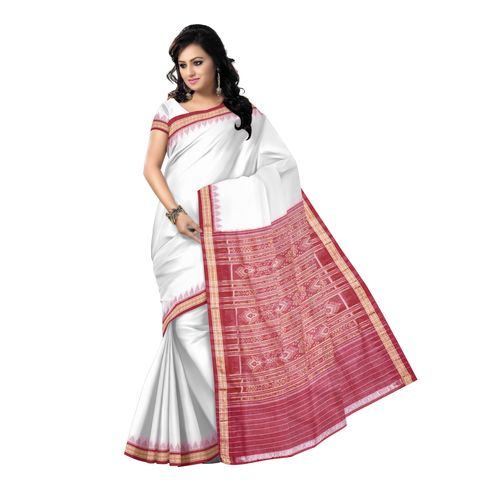 OSS1003: White-Maroon combination handmade cotton saree
