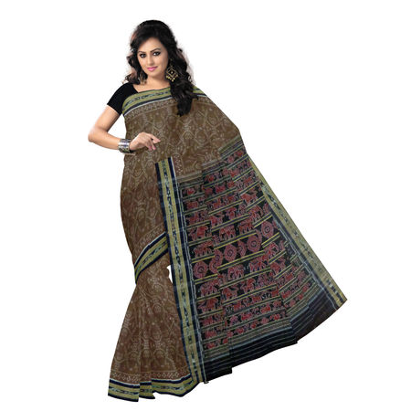 OSS9099: Light Coffee with Black Handloom Nuapatna special design Cotton Saree.