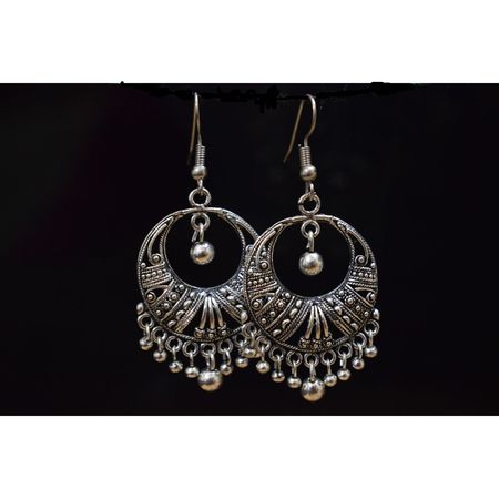 Black Metal Oxidized Handmade Rajasthani earrings jhumkas AJ000113