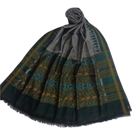 OSS127: Grey with Green Cotton Dupatta for puja wear