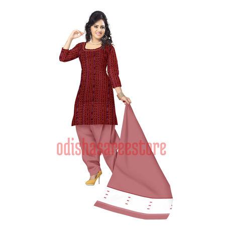 OSS6191: Handloom Sambalpuri Maroon color Ikat design dress Materials