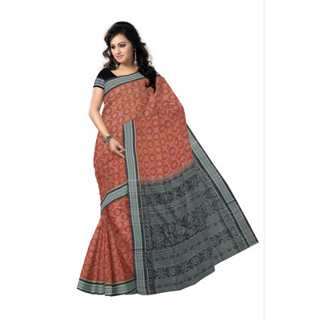 OSS9116: Pure Sambalpuri Deep Brown with Black Alpana design Cotton Saree