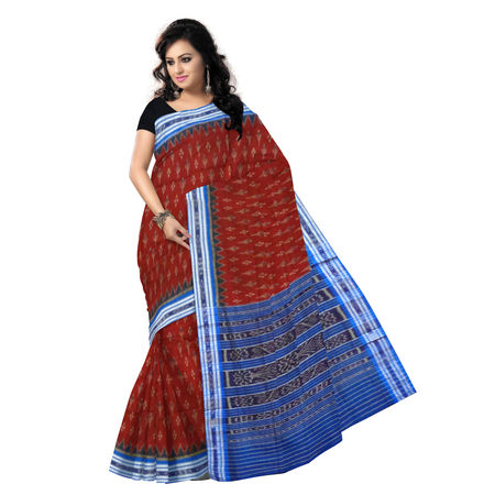 OSS9094: Maroon with Ink blue handwoven Cotton Saree.